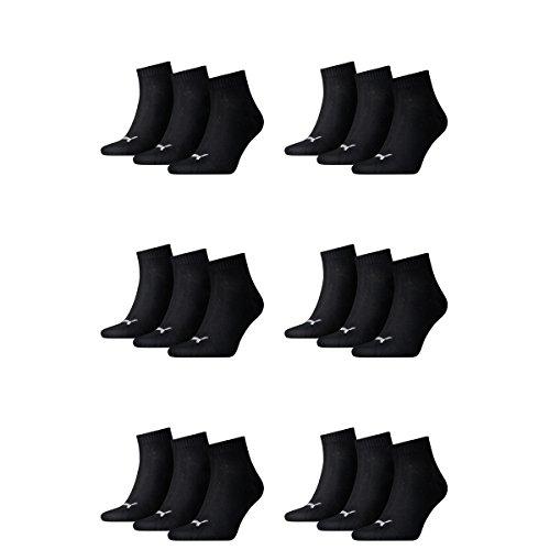 18 Paar Puma Unisex Quarter Socken Sneaker Gr. 35 - 49 für Damen Herren Füßlinge, Farbe:200 - black, Socken & Strümpfe:43-46