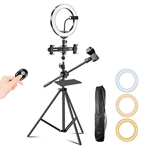 FACAZ Anillo de luz LED con trípode, luz de Relleno con Temporizador automático Regulable de 26 CM con Control Remoto Bluetooth Adecuado para transmisión en Vivo, Maquillaje, Video, B, 1,6 m