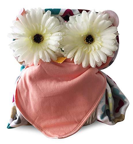 Windelgeschenk Mädchen/Windeltorte Mädchen/EULE + Mulltuch + Dreieckstuch Mädchen -> Pampers Gr. 3 WEIHNACHTSGESCHENK Baby -> Geschenk zur Geburt (Eule rosa Gr. 3)