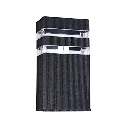 Applique murale exterieur, style moderne, armature en aluminium couleur noir, plafonnier rectangulaire en aluminium couleur noir, pour maison, escalier, terrasse 1 ampoule E27x60w excl. IP54 230V