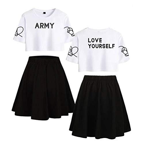 JUSTTIME Print t-shirt Crop Top en Rokken Set Leuke T-shirt met korte mouwen Rok Set van 2 voor Vrouwen Sportkleding XXL 1 wit zwart