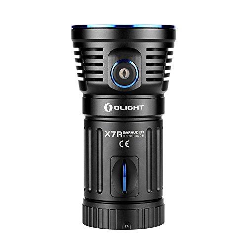 Linterna LED Olight® X7R Marauder muy brillante y compacta, con cargador, 12000lúmenes y 3LED CREE XHP70, con batería 18650 integrada de 4x 3000mAh