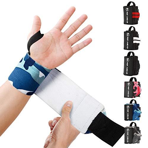 REP AHEAD® Wrist Wraps – Deine neuen Handgelenk Bandagen fürs Workout – Der extra bequeme 100% Handgelenkschutz für echte Athleten im Bereich Crossfit, Fitness, Calisthenics & Bodybuilding (Blau-Camo)
