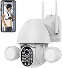 3MP Security Camera Outdoor Wireless WiFi,Floodlight Security Camera, Surveillance Cameras for Home Security System,Work with Alexa/Google Home,PTZ,2-Way Audio,Motion Activated,Waterproof,Tuya APP