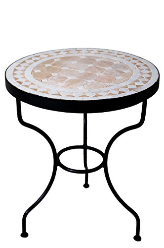 ORIGINAL Marokkanischer Mosaiktisch Beistelltisch ø 40cm rund | Runder Mosaik Gartentisch Mediterran | Handarbeit aus Marokko als Blumentisch für Balkon oder Garten | Marrakesch Natur Weiß 40cm