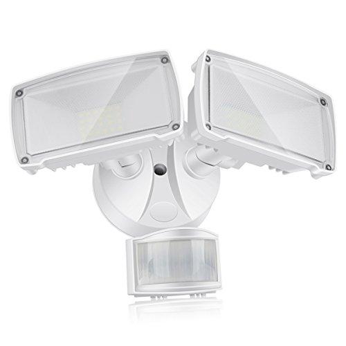 Lumière de sécurité LED 2800LM, Lumière à détecteur de mouvement extérieur 25W, 5000K, 2 projecteurs réglables avec 2 modes automatique et permanent, pour entrées, escaliers, cour et garage