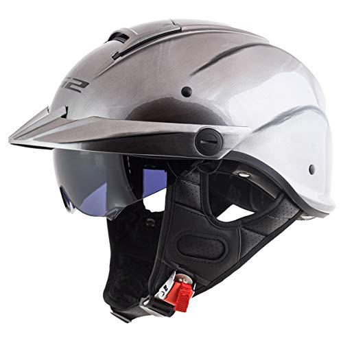 LS2 Helmets Rebellion Motorcycle Half Helmet (Brushed Alloy - Medium)