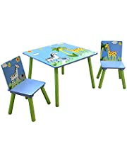 Liberty House Toys Wooden Safari Table and Two Chair Set, Engineered Wood, Blue, 40cm H W x 60cm D