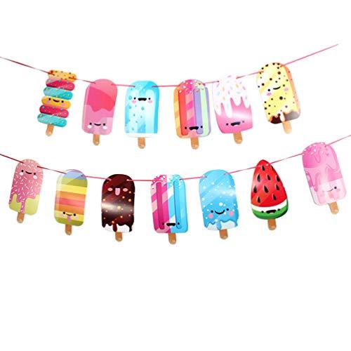 Amosfun Banner de Helado de Papel de Popsicle Bunting de Helado de Fiesta Guirnalda para Verano niño Fiesta de cumpleaños decoración
