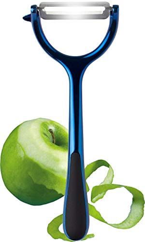 Metallic Blue Vegetable Potato Peeler - Y Shaped Professional Quality and Modern Matt Texture Design. Strong Blade & Handle. Handheld Kitchen Tool for Carrots Cucumber Apple. Taylors Eye Witness
