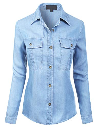 MixMatchy Women's Classic Long Sleeve Button Down Tencel Shirt with Pockets Light Denim M
