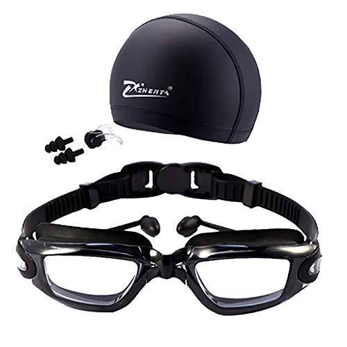 Voberry- Swim Cap, Swimming Glasses Goggles UV Protection Non-Fogging Swim Cap Nose Clip (Black)