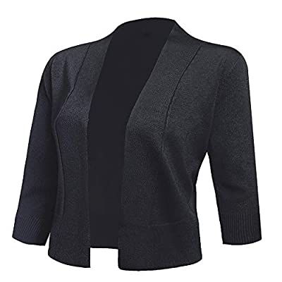 AAMILIFE Women's 3/4 Sleeve Cropped Cardigans Sweaters Jackets Open Front Short Shrugs for Dresses
