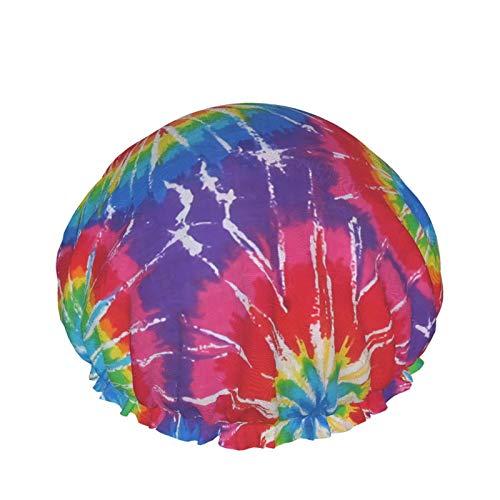 Awesome Tie Dye Shower Cap For Women Long Hair Waterproof Luxury Reusable Sleep Spa Salon Bonnet