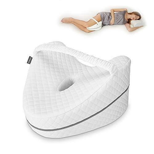 LITSPOT Almohada Ortopédica para Pierna y Rodilla Espuma con Memoria Alivia el Dolor de Espalda Cadera y Articulaciones Soporte para el Tobillo y la Rodilla – Almohadilla para Dormir de Lado (Vendaje)