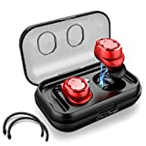 Eon Concepts Wireless Bluetooth 5.0 Earbuds TWS-8 Headphones | iPhone & Android Phone Compatible | Built in Mic | Detachable Ear Hooks | Portable Charging Case | 3D Stereo Sound | Smart Touch | RED