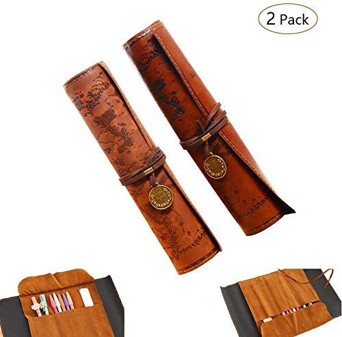 Funda para lápices -WENTS enrollada de estilo retro, diseño de mapa del tesoro pirata bolsa de cosméticos artículos de papelería pencail caso Roll Up estuche bolsa Papelería Bolsa de almacenamiento