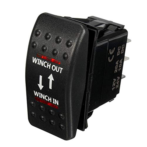ESUPPORT Car Auto 12V Momentary Light Button Rocker Toggle Switch Red LED Winch in Out ON-Off-ON 7Pin SPDT