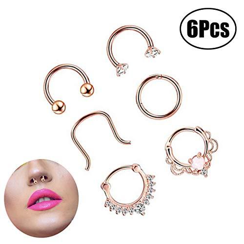 LEEQ 6 Stilen 16 Gauge Edelstahl Nasenring Piercing Septum Klicker Halter Set Körperschmuck Piercing, Rose Gold