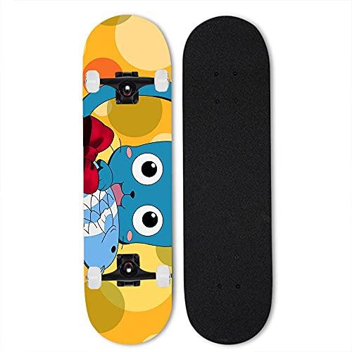 Totots Monopatín Feliz Cuatro Ruedas, Fondo Amarillo Anime Skateboard, Cuento DE Hadas Monopatín de Arce, monopatín Completo, monopatín de Doble inclinación, monopatín para Principiantes, Crucero