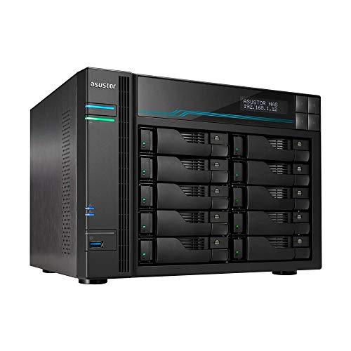 Asustor Lockerstor 10 AS6510T 10 bay Server Nas - Case di archiviazione di Rete, Quad Core 2.1 GHz CPU, 8 GB di RAM DDR4, M.2 NVMe SSD (Senza Disco)