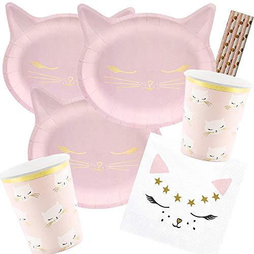38-teiliges Party-Set Katze - Kätzchen - Teller Becher Servietten Trinkhalme für 6 Kinder