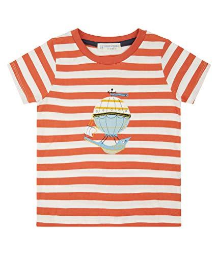 Kinderen T-Shirt Oranje gestreept ballon Biologisch Gr.92