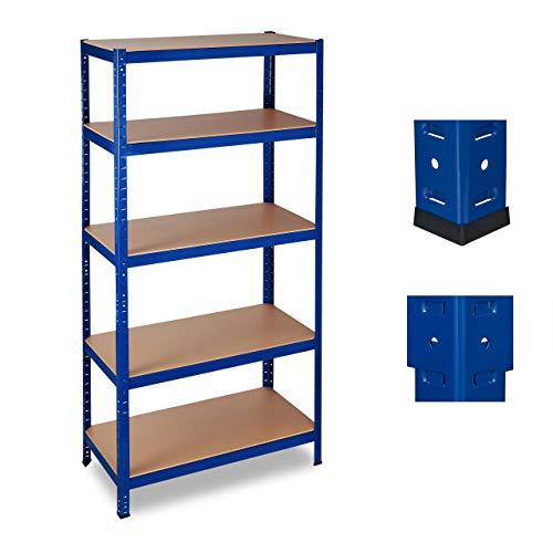 Relaxdays Schwerlastregal, Traglast 1325 kg, 5 Ebenen, zum Stecken, Keller, Garage, Stahl, HxBxT: 180 x 90 x 45 cm, blau