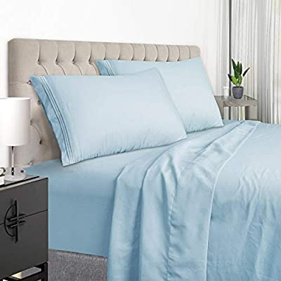 YumHome Full Size Sheet Set - Extra Soft Luxury Brushed Microfiber Full Bed Sheets with 15 inch Deep Pocket - Breathable Wrinkle Fade Stain Resistant Hypoallergenic - 4 Piece (Full, Lake Blue)
