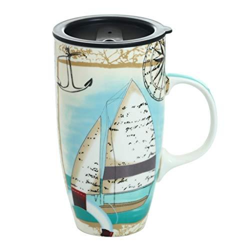 kerryshop Tazas para niños Estilo Europeo de la Personalidad Creativa Capacidad de Super Gran Taza de cerámica Taza de la Oficina con Tapa Pareja Cup Coffee Cup Beber Taza de té