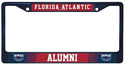 Rico Florida Atlantic Univesity FAU Owls Alumni Metal License Plate Dark Blue Metal Frame