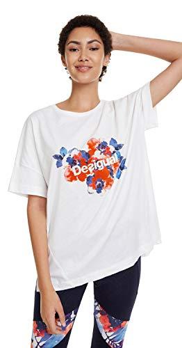 Desigual T-Shirt pour Femme Motif Camouflage S Blanc