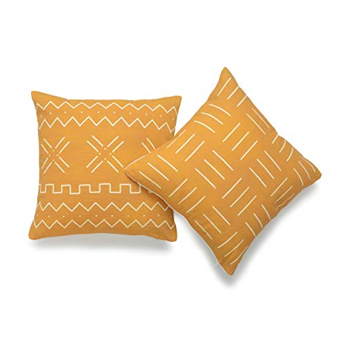 Hofdeco African Mudcloth Cushion Cover ONLY, Mustard Yellow, 45cmx45cm, Set of 2