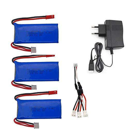 N/V 3PCS 7,4 V 1200 mAh Akku mit USB-Ladegerät 3-in-1-Kabel Für YiZhan Tarantula X6 MJX X101 X102h X1 H16 WLtoys V666 V262 V353 V333 3batterycharger
