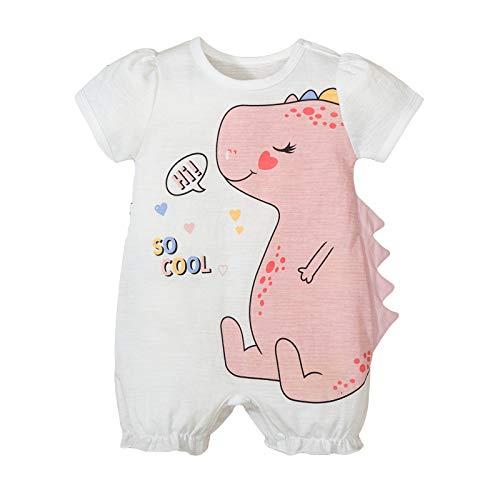 Haokaini Baby Girl Onesie Short Sleeve Romper Summer Toddler Cartoon Dinosaur Mono de Manga Corta Mono
