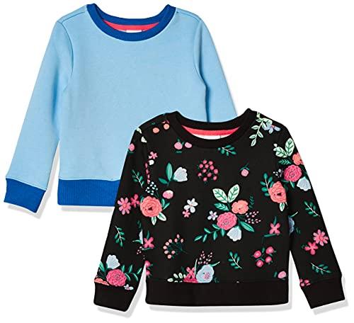 Amazon Essentials Mädchen Fleece Crew-neck Sweatshirts, schwarz floral/hellblau, XXL (EU 158 CM), 2er Pack