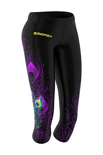 SMMASH Pride Damen Leggings 3/4 für Crossfit, Gym Hose, Outdoor, Sporthose für Yoga, Laufhose, Atmungsaktiv Trainingshose, Fitnesshose Blickdichte, Jogginghose, Hergestellt in der EU (XL)