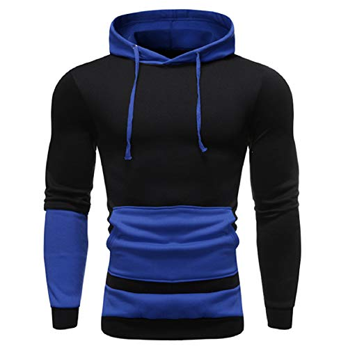 VANVENE Men Fleece Pullover Hoodie Jumpers – Cool Long Sleeve Patchwork Hoody Sweatshirts M-3XL
