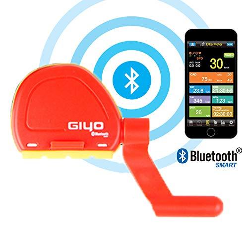 GOMOV Sensor De Velocidad Y Cadencia Bicicleta Ciclo Al Aire Libre Impermeable Sin Hilos De Computadora De La Bicicleta, Inteligente Bluetooth del Odómetro del Velocímetro 2 Colores,Rojo