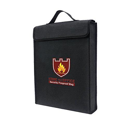 Tas voor documenten, vuurvast, waterdicht en vuurvast, ter bescherming van geld, paspoort, kaarten, waardevolle spullen, sieraden en batterijen