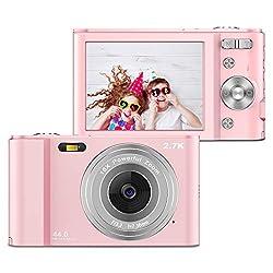 ZORNIK Fotocamere Digitali Compatte 2,88 Pollici LCD Ricaricabile HD 44 Mega Pixel, Zoom Digitale 16x, Studenti per Adulti/Anziani/Bambini (pink)
