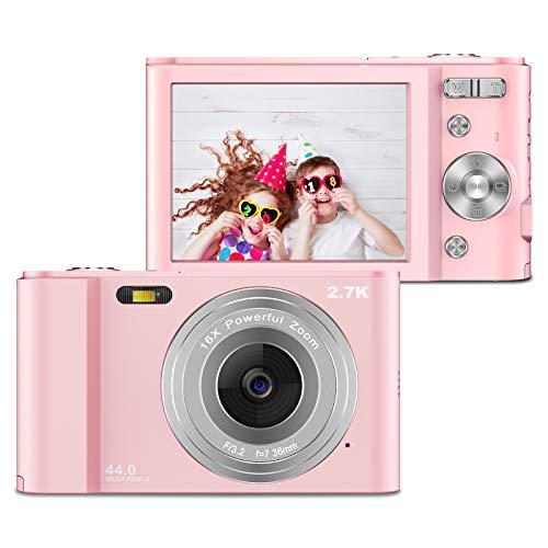 ZORNIK Cámaras Digitales, Cámara Compacta 2.88 Pulgadas LCD Recargable HD 44 Megapíxeles Zoom Digital 16x, Estudiantes para Adultos/Mayores/Niños (Pink)