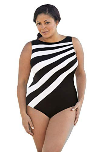 Aquamore Chlorine Resistant Black and White Plus Size Spliced Color Block High Neck One Piece Swimsuit Size 18W