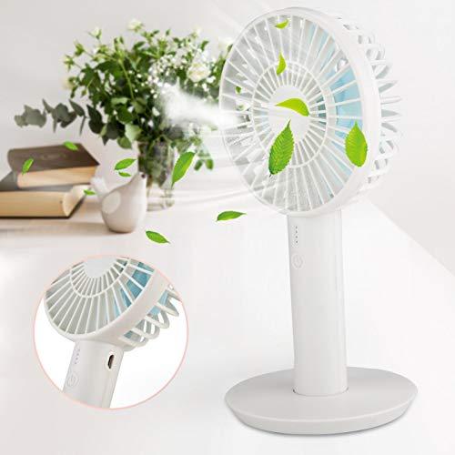 Omabeta Ventilador eléctrico de bajo Consumo de energía Diseño de Viento de Tres Paradas con Pantalla de Potencia 105 * 208 mm / 4,1 * 8,2 Pulgadas para Acampar al Aire Libre(White)