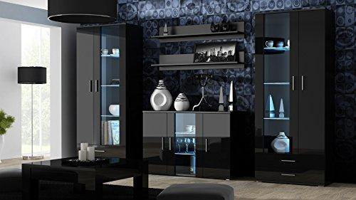 Furniture24 Wohnwand SOHO Anbauwand Wohnzimmer Möbel Hochglanz Vitrine Kommode Tv Schrank (Korpus: Schwarz Matt Front: Schwarz Hochglanz)
