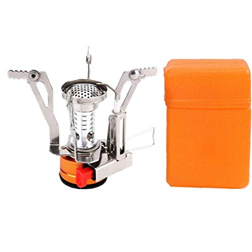 Cocina de cámping Gas del Quemador con Encendido piezoeléctrico Mini Plegable a Prueba de Viento con Estuche de Transporte para cocinar al Aire Libre