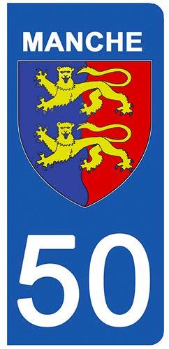 DECO-IDEES 2 Stickers pour Plaque d'immatriculation - 50 - Blason Manche- Stickers Garanti 5 Ans