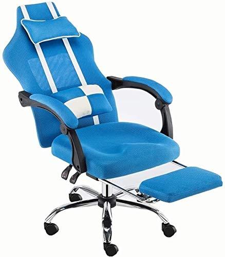 Sessel GSN Stuhl-Ineinander greifen High Back Schwenker-Büro-Stuhl Reclining Boss Stuhl Abnehmbarer Doppel Kissen Mesh-Rückenlehne bequem und atmungsaktiv Bearing Gewicht 200 kg (Color : Blue)