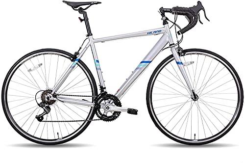 Hiland 700c Rennrad Stahl City Commuter Fahrrad mit Shimano 14 Gänge Geschwindigkeiten Silber