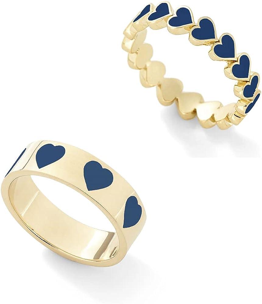 2 PCS Colorful Heart Ring Gold Band Rings Set Cute Love Heart Plain Stackable Finger Ring Wedding Love Promise Ring for Women Girls